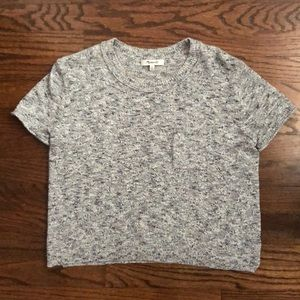 Madewell Grey Cropped Knit Sweater T-Shirt